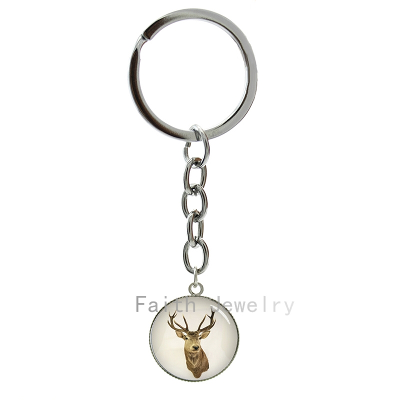 Deer art picture key chain buck & doe jewelry glass dome art charm best gifts 2016 new fashion design friends keychain -887 image