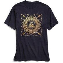 New Punk Men T Shirts Illuminati Classic TShirt 100% Cotton All Seeing Eye Mandala T-shirt Print Short Sleeve Tops Tees Chic