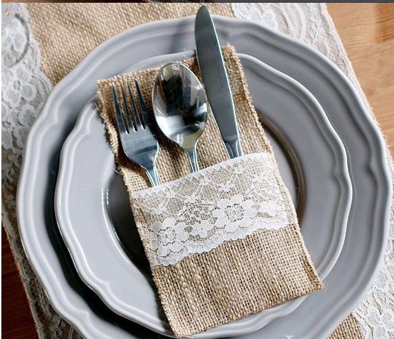 Hessian Rustic Wedding Burlap And Lace Cutlery Silverware Holder Pocket Table Decor Home