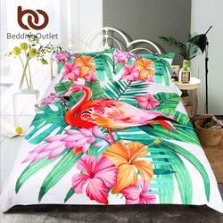 BeddingOutlet Flamingo Bedding Set Tropical Plant Quilt Cover King Size Home Bed Set Flower Print Pink and Green Bedclothes 3pcs