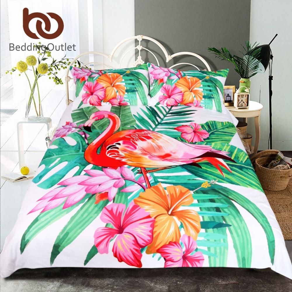 BeddingOutlet Flamingo Bedding Set Tropical Plant Quilt Cover King <font><b>Size</b></font> Home <font><b>Bed</b></font> Set Flower Print Pink and Green Bedclothes 3pcs