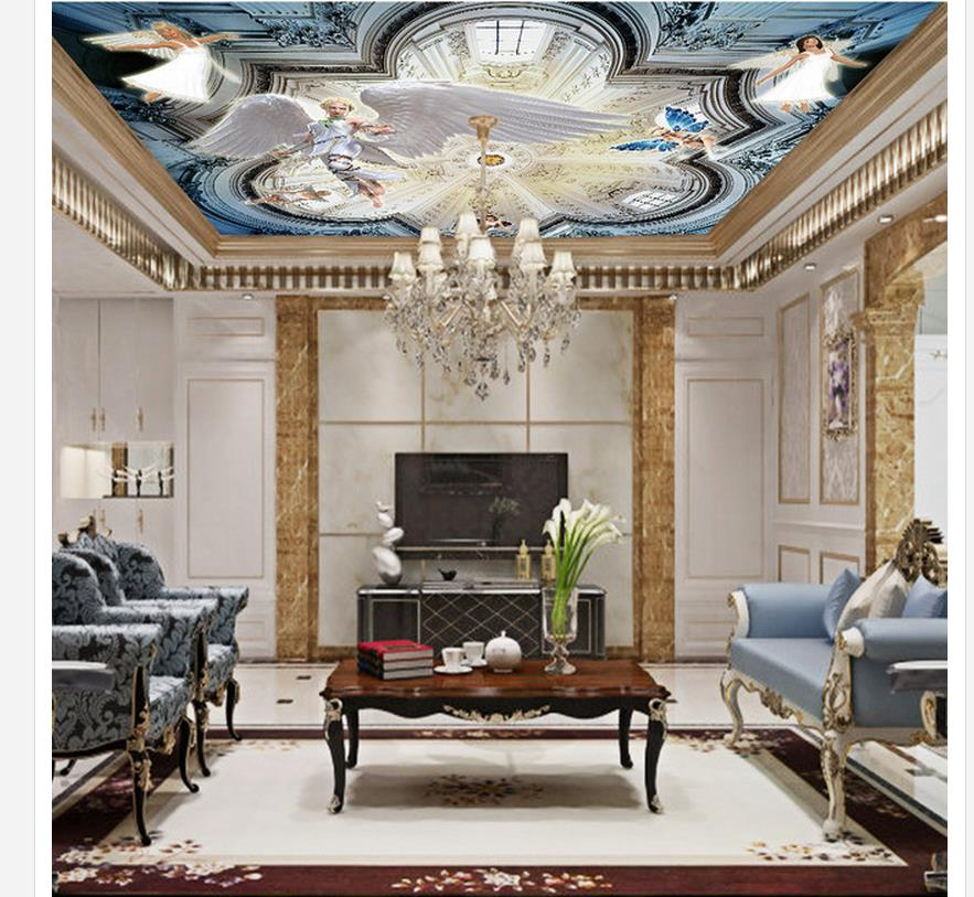 3d ceiling murals wallpaper angel ceiling3d ceiling murals for Wallpaper home renovation