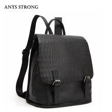 Муравьи сильный моды крокодиловой рюкзак/простые женские дорожные сумки черный сумка фестиваль подарки