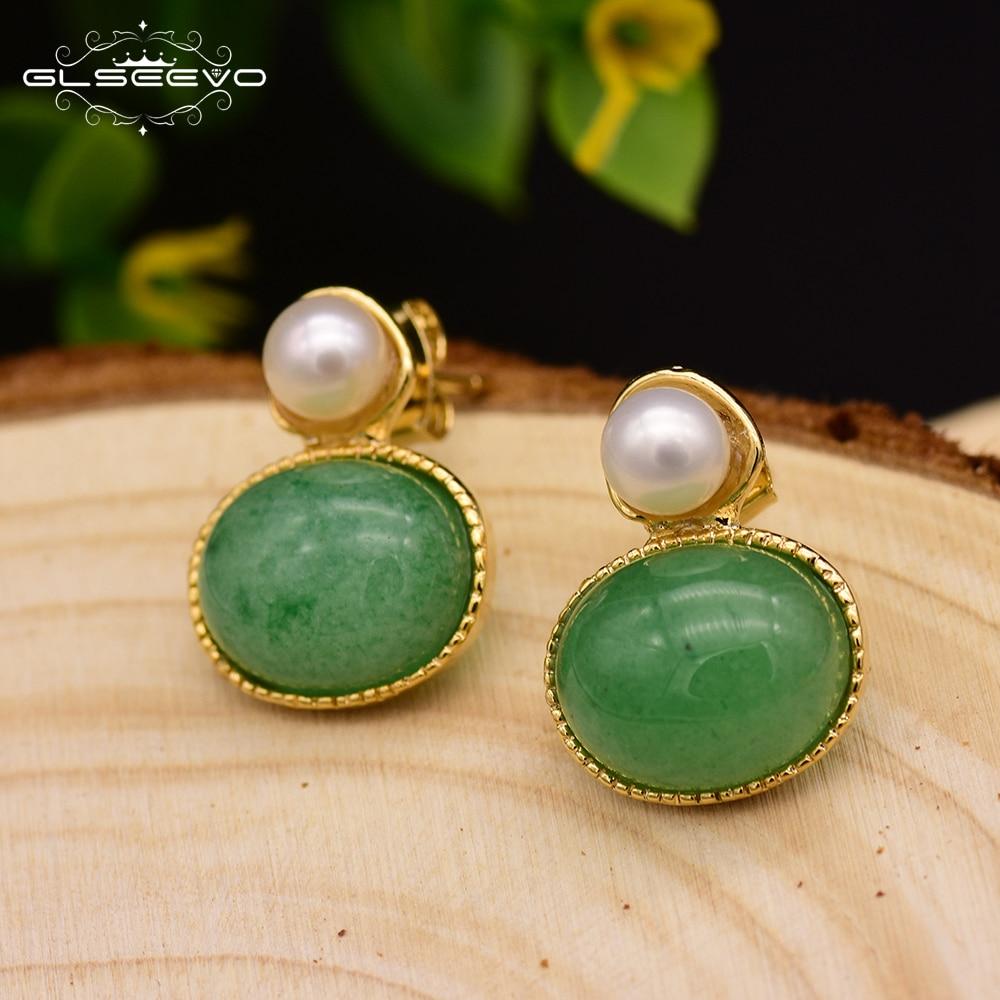 GLSEEVO Natual Green Aventurine Dangle Earrings Perlas Naturales Prata Brincos Feminino Handmade Fashion Party Jewelry GE0083