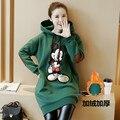 Осень и зима Микки Маус пальто с крышкой и свободные кашемировый свитер беременных женщин утолщенной длинное пальто рубашка большой размер