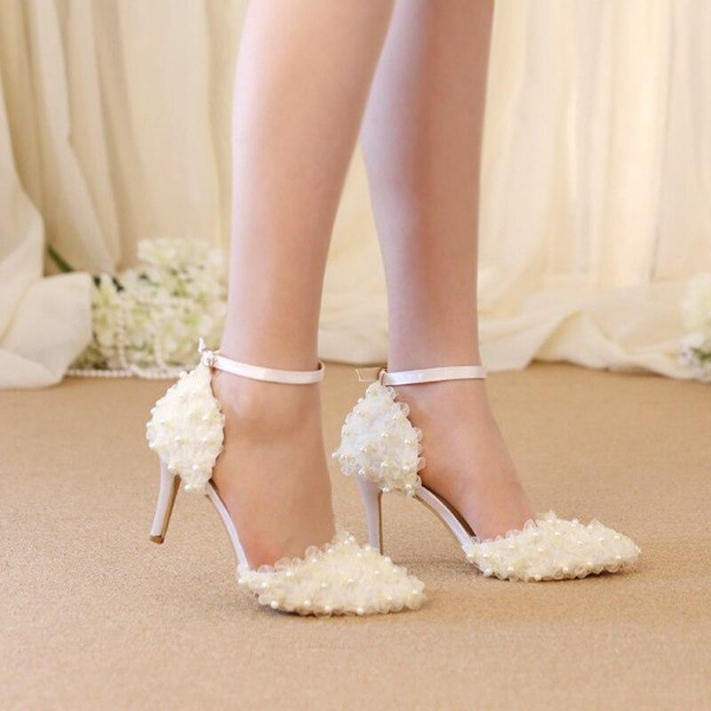 Schöne Spitze Blumen Brautkleid Schuhe Hochzeit Pumps Spitz Satin ...