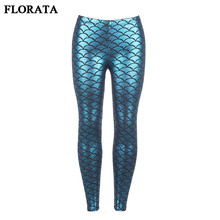 FLORATA Women Fish Scale Leggings Skinny Pencil Pants Sexy High Waist Slim Glossy Elastic Casual Trousers