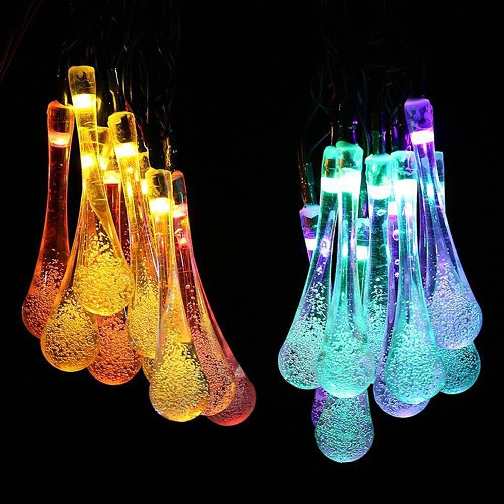 Капли воды Праздничные огни многоцветный светодиодные Строка batterty работает Рождественский гирлянды Фея Свадебные украшения DA