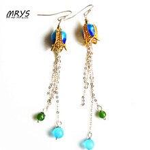 Fashion Blue Gold Petal Ethnic Cloisonne Enamel Jewelry Dangle Drop Long Earrings For Women Sterling Silver Tassel Hook Handmade