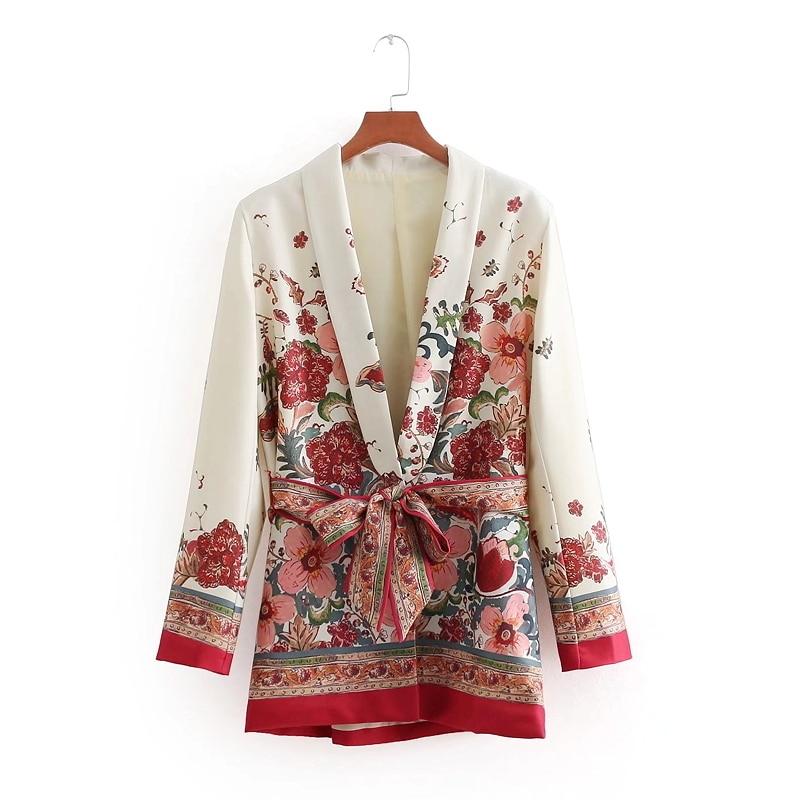 2018 Women Vintage Retro Red Floral Print Kimono Suit Jacket Ladies Waist Bowknot Sashes Outwear Business Casual Slim Coat CT070