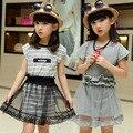 Большая Девочка Костюм 2016 Новый Летний Корейской Версии Двух Набор Девочек Одежда Платье Детей 9 Лет Детская Одежда