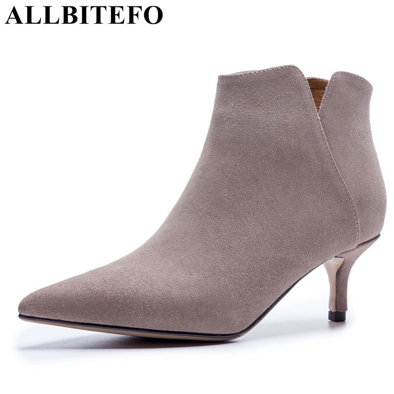 allbitefo brand genuine leather super high heel ankle women boots fashion sexy ladies girls martin boots motocycle boots shoes ALLBITEFO brand genuine leather comfortable ladies women boots high heel shoes woman ankle boots fashion girls motocycle boots