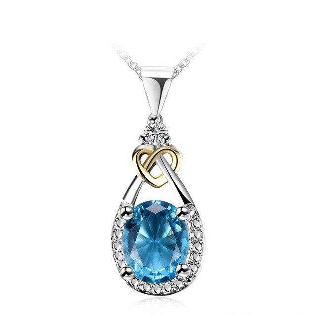 I&zuan Necklaces Pendants Women For Wedding 925 Sterling-silver-jewelry Blue Ova
