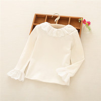 White Children T Shirts Long Sleeve Kids Girls Ruffle T Shirt Lace Peter Pan Collar Baby