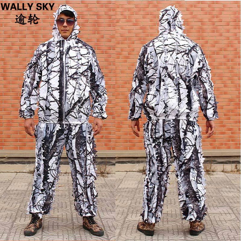 Men Bionic 3D Leaf Snow White Camouflage Ghillie Suit Snow Hunting Clothing Camouflage Hunting Clothes Archery Jacket&Pants Sets or fabric camouflage leaf headgear