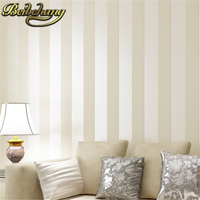 Beibehang Simple Style Glitter Stripe Circles Wall Paper Cream Beige Brown Wide Band Prepasted