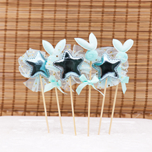 6pcs/pack Sweet Cake Topper Lace Five-pointed Star Rabbit  Birthday Cupcake Flag for Baby Shower Party Decoration Cake Decor