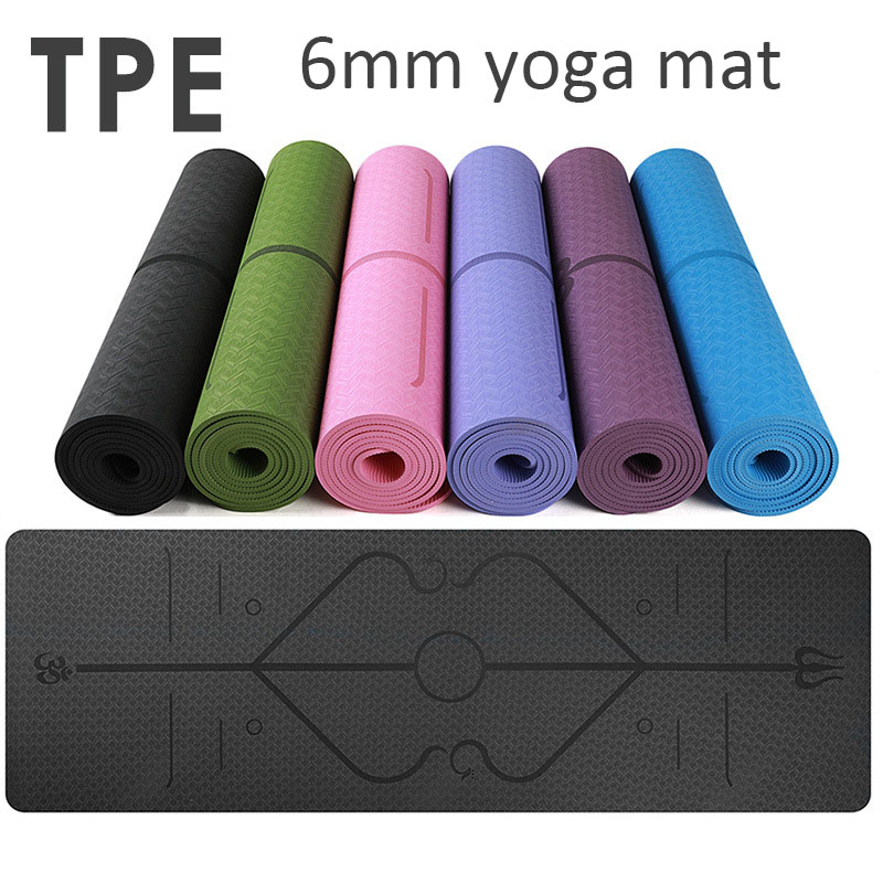 183*61*6mm TPE Position Line Premium Yoga Mats Tasteless Non-slip Beginners Exercise Gymnastics Mat with Bag Beginner Home 3 in 1 tpe yoga mat 6mm environmental tasteless colchonete fitness gymnastics mat gym exercise mat with yoga mat bag 183 61 0 6