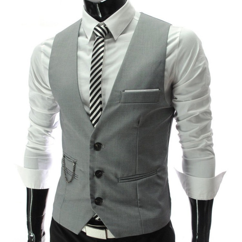 2020 New Arrival Grey Dress Vests Slim Fit Mens Suit Vest Casual Sleeveless Waistcoat Gilet Homme Formal Business Jacket Male