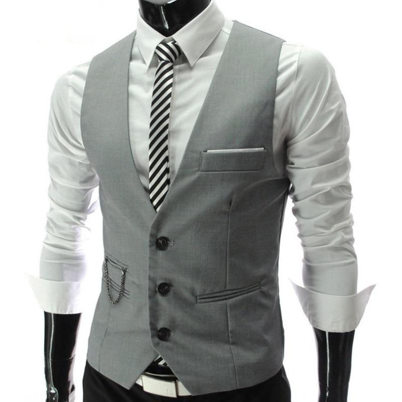 2020 New Arrival Grey Dress Vests Slim Fit Mens Suit Vest Casual Sleeveless Waistcoat Gilet Homme Formal Business Jacket Male