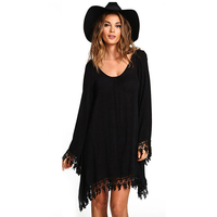 2017 Summer Women Boho Tassel Dress Short Vestido Sexy Lace Crochet Chiffon Tunic Hollow Black Beach