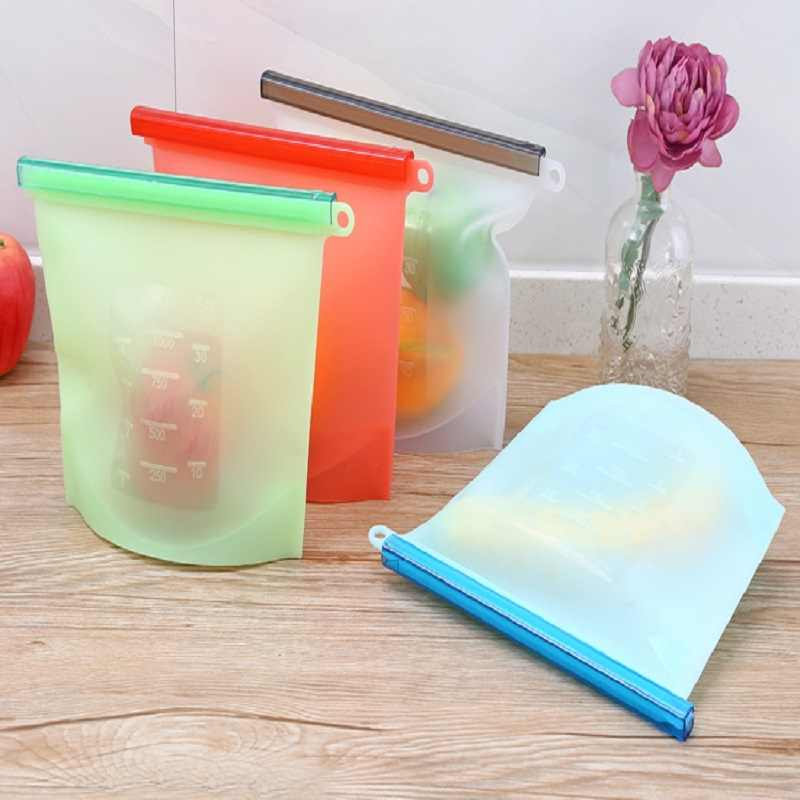 Reusable Vacuum Silicone Food Bag sealing Storage Bag Home Food Grade Silicone Fruit Meat Ziplock Kitchen Storage bag