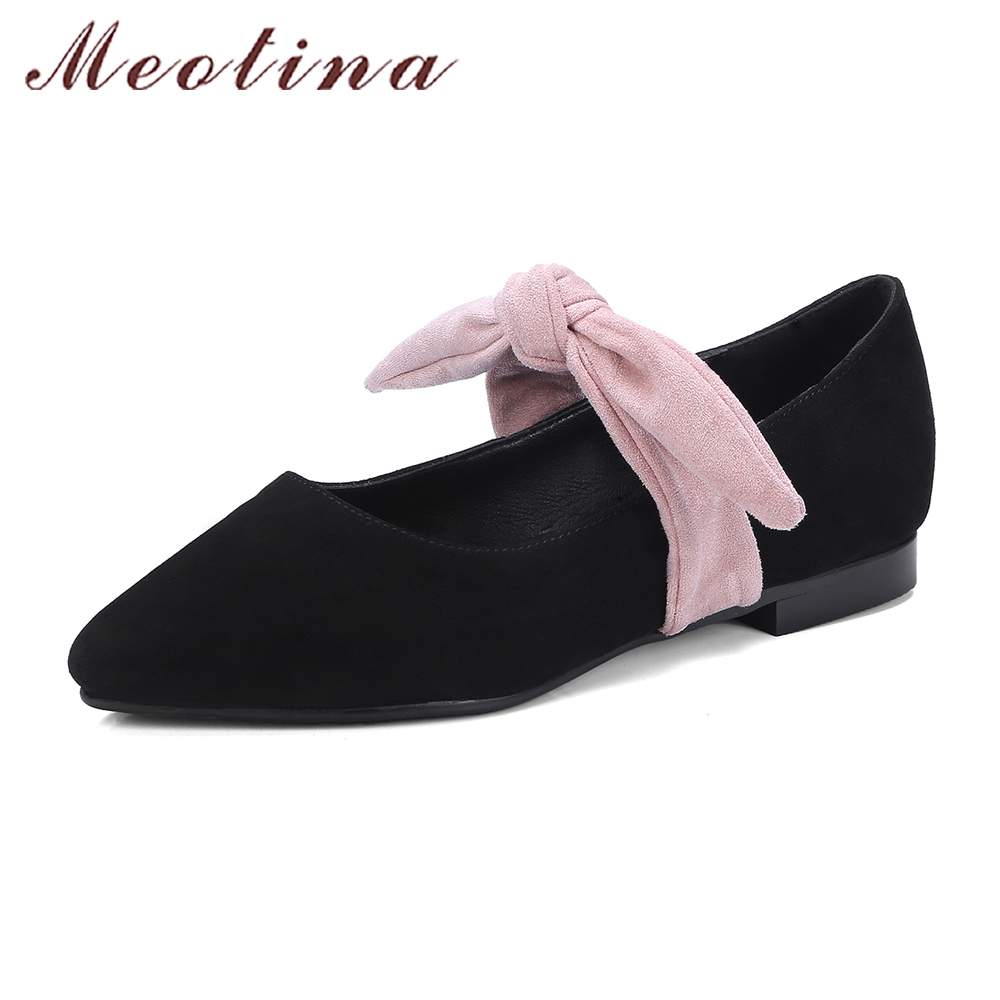 Meotina Women Ballet Flats Genuine Leather Shoes Spring Bow Moccasins Kid Suede Shoes Flats Pointed Toe Boat Shoes Pink Black meotina women flat shoes ankle strap flats pointed toe ballet shoes two piece ladies flats beading causal shoes beige size 34 43
