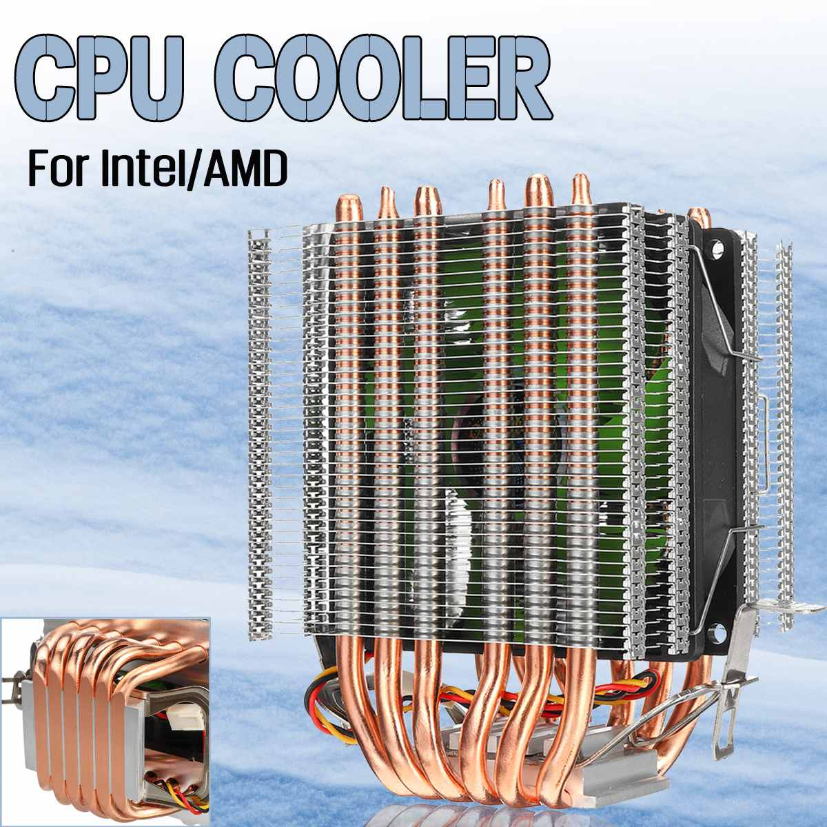 6 3 Pin Único Ventilador CPU Cooler Ventilador de Refrigeração Do Radiador Heatpipe Duplo Torre Cooler Ventilador Do Dissipador de Calor Para Intel LGA 1150/1151/1155 para AMD