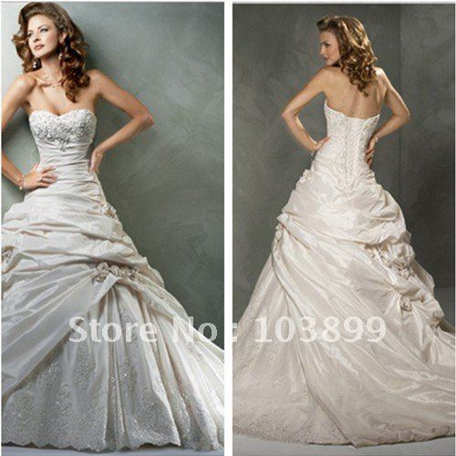 Total New Style Ball Gown Strapless Ivory Silk Taffeta Lace
