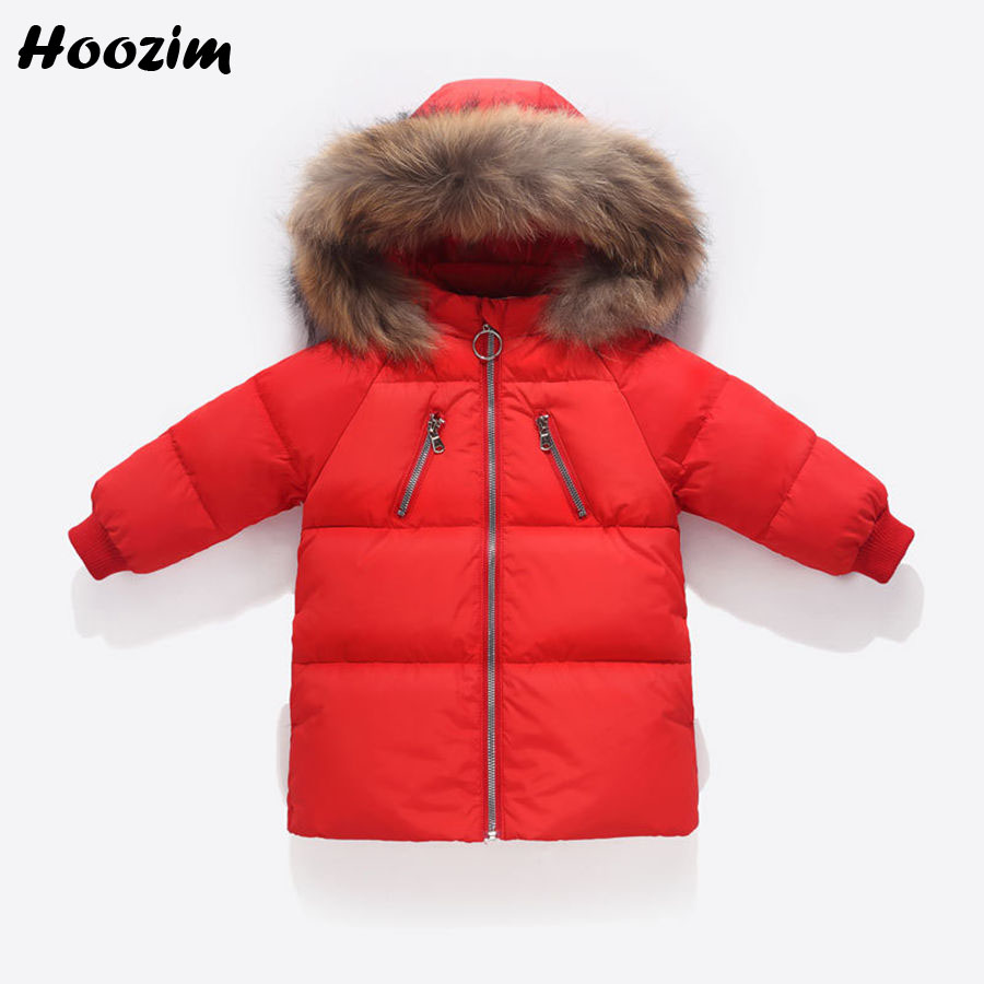 Winter White Duck Down Jackets For Boys 18M 24M 3 4 5 6 Years Fashion Baby Coat Autumn Faux Fur Cap Long Jacket For Girls Kids down children warm coat sporty kids clothes winter jacket for boys girls jackets autumn and winter baby overcoat2 3 4 5 6 7yrs