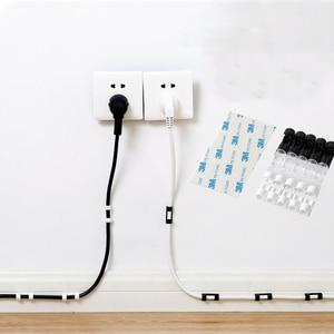 Image 1 - 5 пакетов кабельная стяжка Фиксатор Зажим рабочего провода Clear Up зажимы Держатель Зажимы Кабельный Зажим устройства USB шнур держатели клипов товары для кухни органайзер для кухни зажимы для кабелей