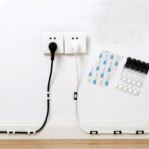 Image 1 - 5 paquets dispositif de Clip de câble pinces de cordon USB supports attache de câble pince de fixation pince organisateur adhésif câble cravate range câbles