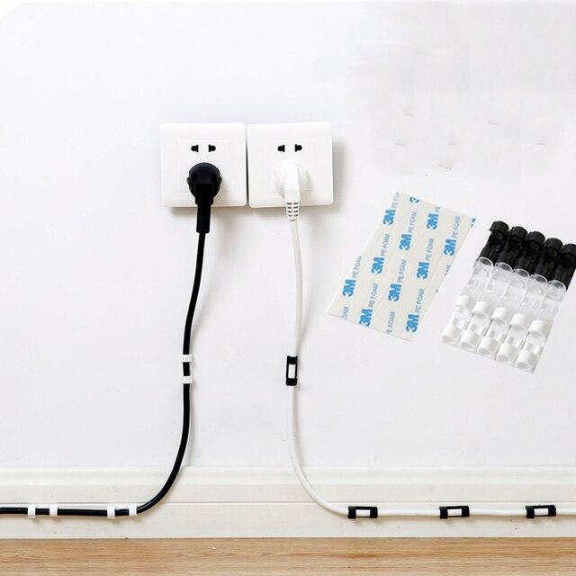 5 paquets dispositif de Clip de câble pinces de cordon USB supports attache de câble pince de fixation pince organisateur adhésif câble cravate range câbles