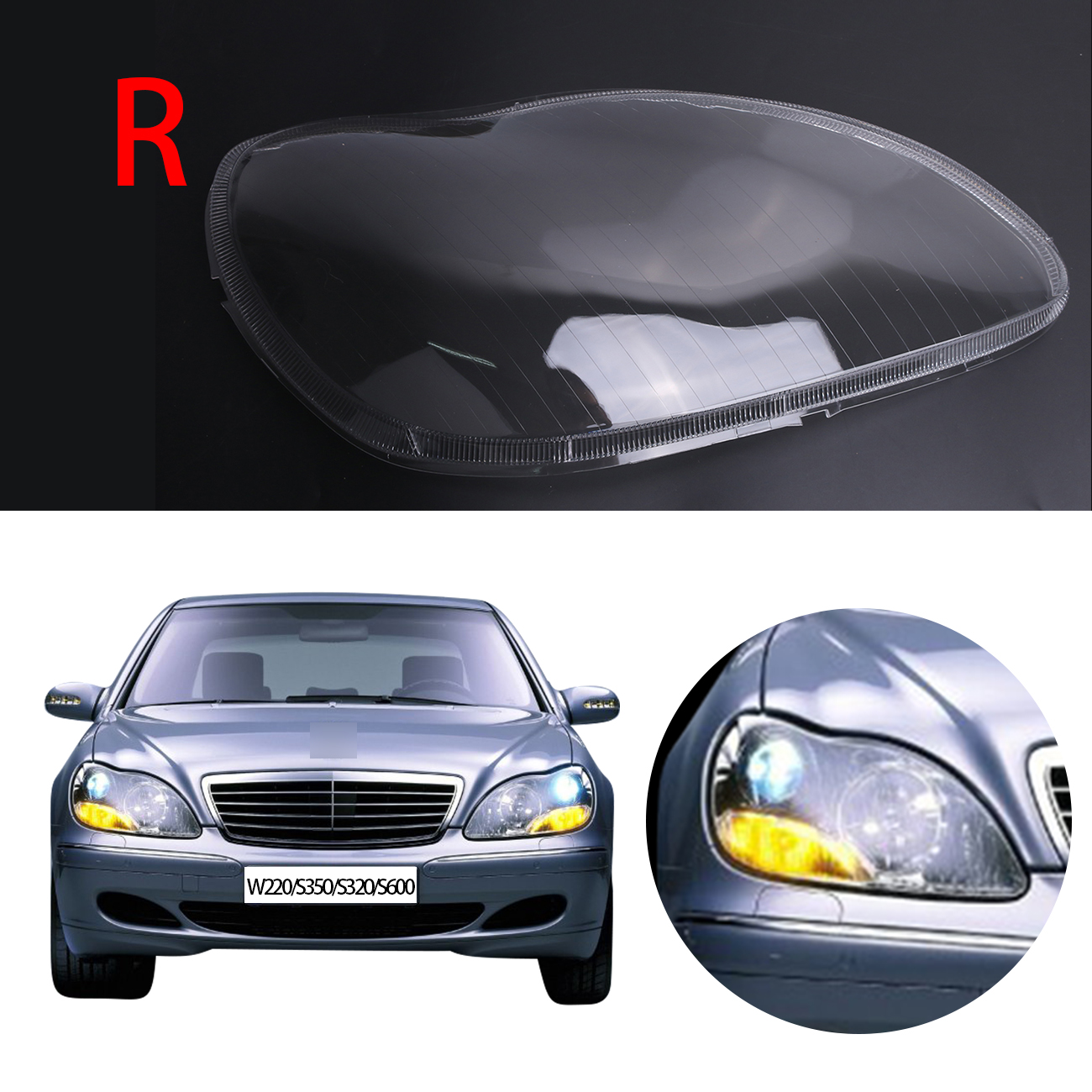 Right transparent housing headlight lens cover lamp for Mercedes benz headlight lens