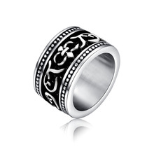 1pcs fashion vintage round carved flower anelli uomo punk titanium steel ring for men jewelry Free shipping R0009