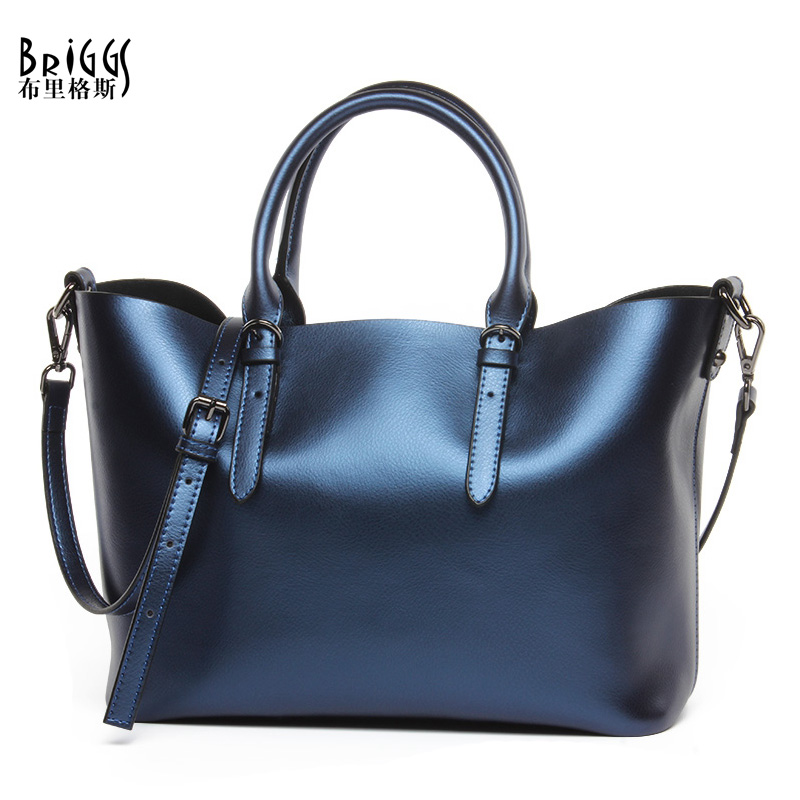 BRIGGS Brand Genuine Leather Women Shoulder Bag Luxury Handbags Women Bags Designer Cowhide leather Casual Tote Messenger Bag genuine leather handbags 2018 luxury handbags women bags designer women s handbags shoulder bag messenger bag cowhide tote bag