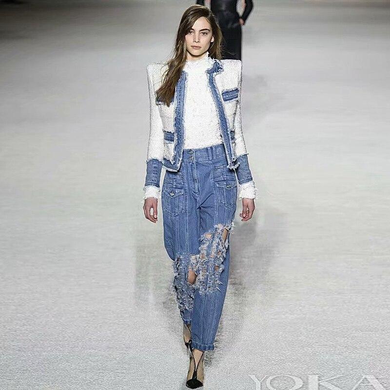 Cappotto Pista di Alta Qualità di Autunno Inverno Nuove Donne Di Modo Del Partito di Ufficio Vintage Elegante Chic Manica Lunga Denim Bianco Vestito Giacca