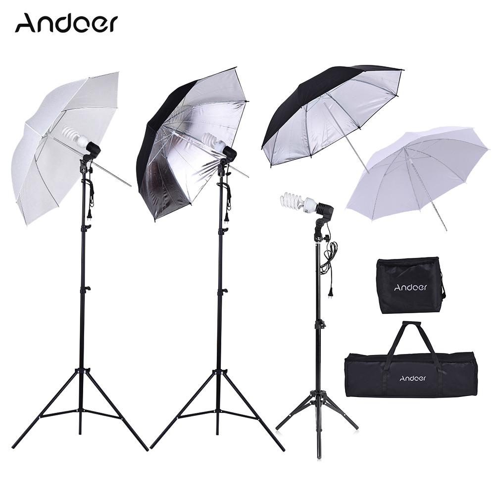 Andoer Photo Studio Kit Incloud Light Stand Bulb Translucent White Soft Umbrella Black Silver Umbrella Bulb