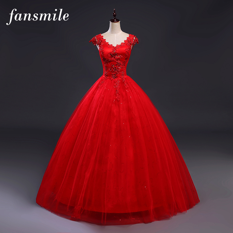 Fansmile Red V neck Robes de Mariee Vintage Lace Up Wedding Dress 2019 Cheap Red Bridal