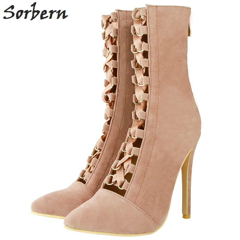 Sorbern Nude Lace-Up Straps Pointed Toe Mid Calf Boots For Women Shoes High Heel Custom Red Bottoms Colors Boots Ladies New timetang new arrival candy color women high heel boots runway fashion round toe platform mid calf boots for women 7 colors