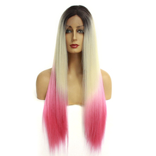 Long Straight Ombre Synthetic Lace Front Wigs for Women 24Inch Natural Lace Front Wig With Glueless 613 Pink Full Cosplay Wig