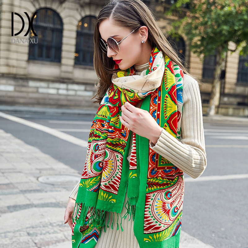 2018 European Autumn Winter Women Fashion Blanket Scarf Female Cashmere Pashmina Wool Scarf Shawl Warm Thick Scarves Cape Wraps