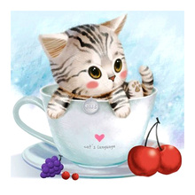 animal cat Moge Diamond Painting Full Round cartoon Children New DIY Sticking Drill Cross Embroidery 5D simple Home Decoration dog and cat diamond painting full round animals new diy sticking drill cross embroidery 5d cartoon simple home decoration