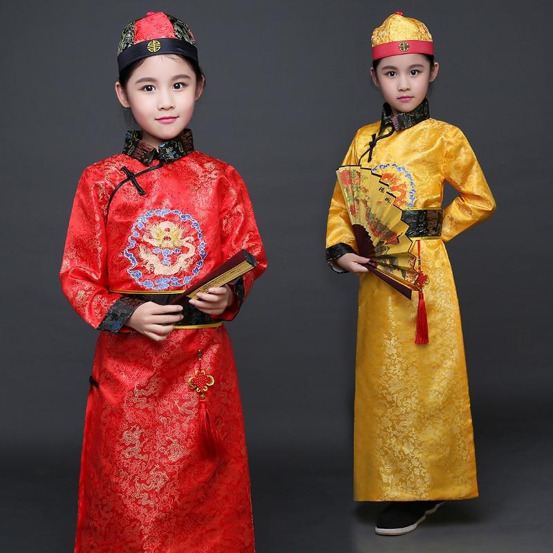 Çocuk Qing Hanedanı Kostüm ile Boy Çocuk Çin Hanfu Şapka - Dans Kıyafetleri ve Sahne Kostümleri - Fotoğraf 1