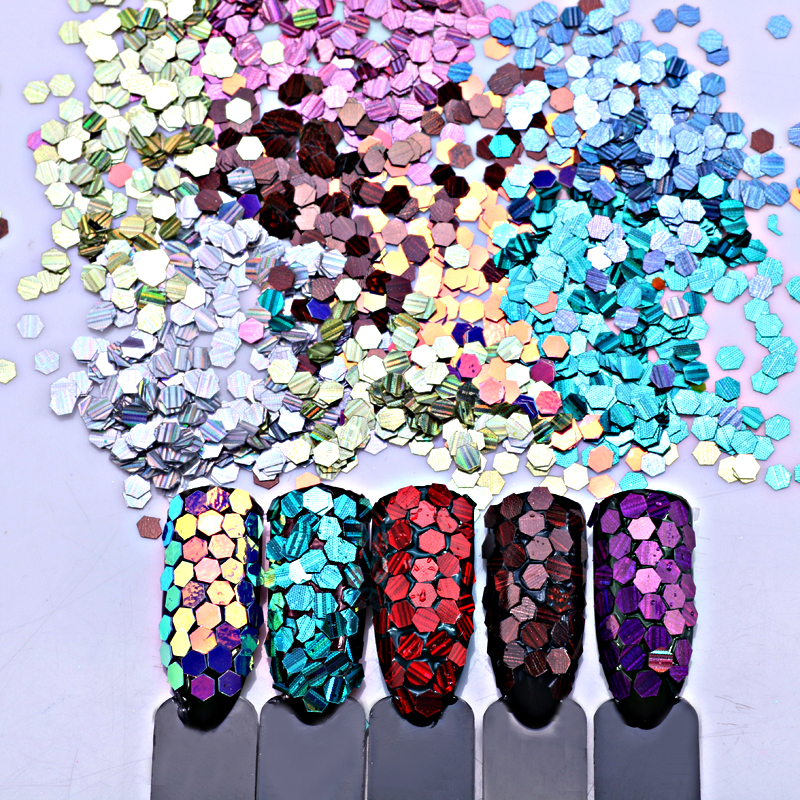 12 Laser Nail Art Glitter 2mm Hexagon Shapes Confetti Sequins Acrylic Tips UV Gel Paillette Spangle Shape DIY NailArt Decoration 48 bottles lot 5 designs mixed diy nail art decoration kit rhinestones beads sequins paillettes nail glitter powder acrylic tips