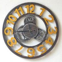 Retro Gear Shape Wooden Art Wall Clock Hollow Arabic Numerals Restaurant Decorative Bell Wall Decoration Time Large Wall Clock