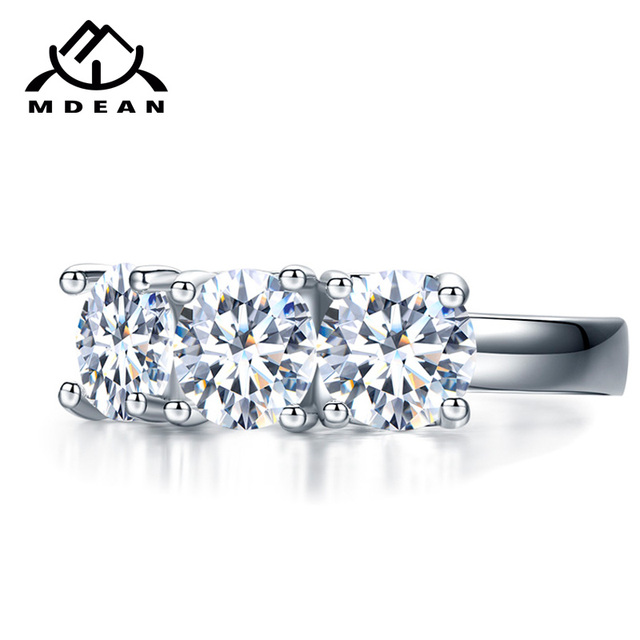 MDEAN White Gold Color Love Heart  Wedding Rings for Women Engagement AAA Zircon Jewelry Femme Bijoux Bague Size 6 7 8 9 10 H005