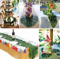 Hawaiian Style Grass Table Skirt 2.75*0.75m Picnic Plastic Table Skirt 12 pieces Turtle leaf Decoration for Outdoor Party Suppli