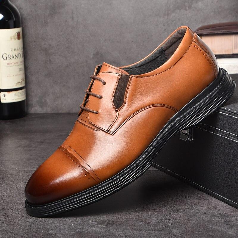 OSCO jesień zima oryginalne skórzane buty męskie biznes sukienka buty męskie oddychające sznurowane moda na co dzień buty ślubne mężczyźni w Buty wizytowe od Buty na  Grupa 1