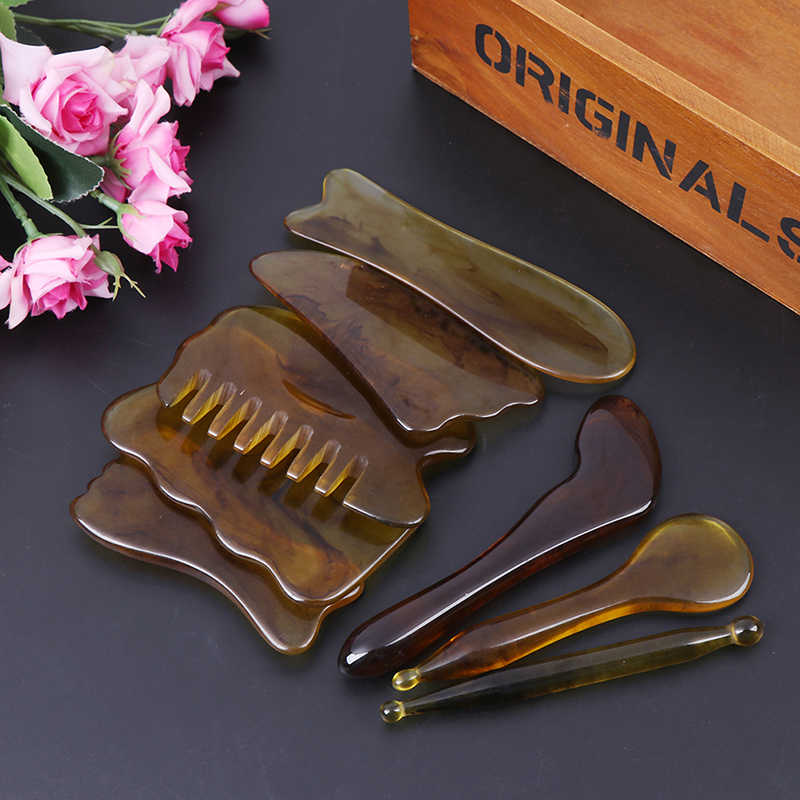 Natural Jade Guasha Scraping Massage Scraper  Gua Sha Board Resin Acupoint Face Eye Care SPA Massage Face Massager Acupuncture